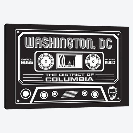 Washington DC Cassette - Dark Background Canvas Print #BPP321} by Benton Park Prints Canvas Art