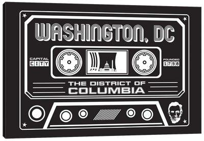 Washington DC Cassette - Dark Background Canvas Art Print