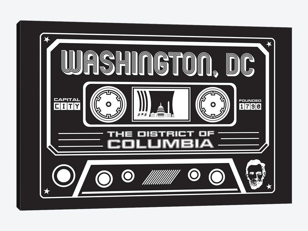 Washington DC Cassette - Dark Background by Benton Park Prints 1-piece Canvas Art
