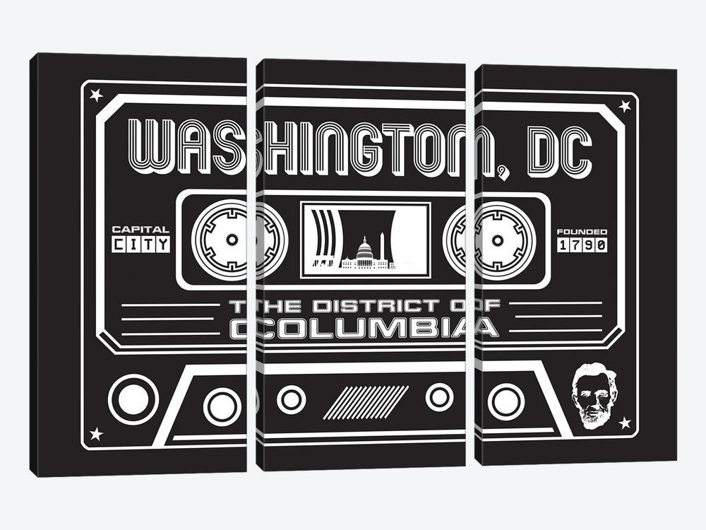 Washington DC Cassette - Dark Background by Benton Park Prints 3-piece Canvas Art