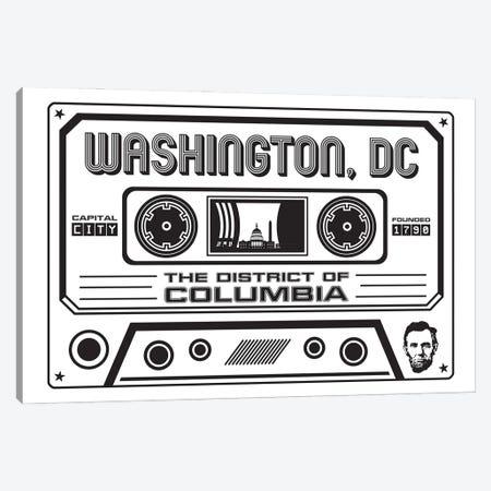 Washington DC Cassette - Light Background Canvas Print #BPP322} by Benton Park Prints Canvas Wall Art