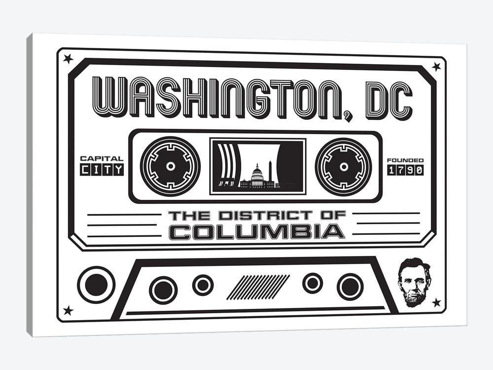 Washington DC Cassette - Light Background by Benton Park Prints 1-piece Art Print