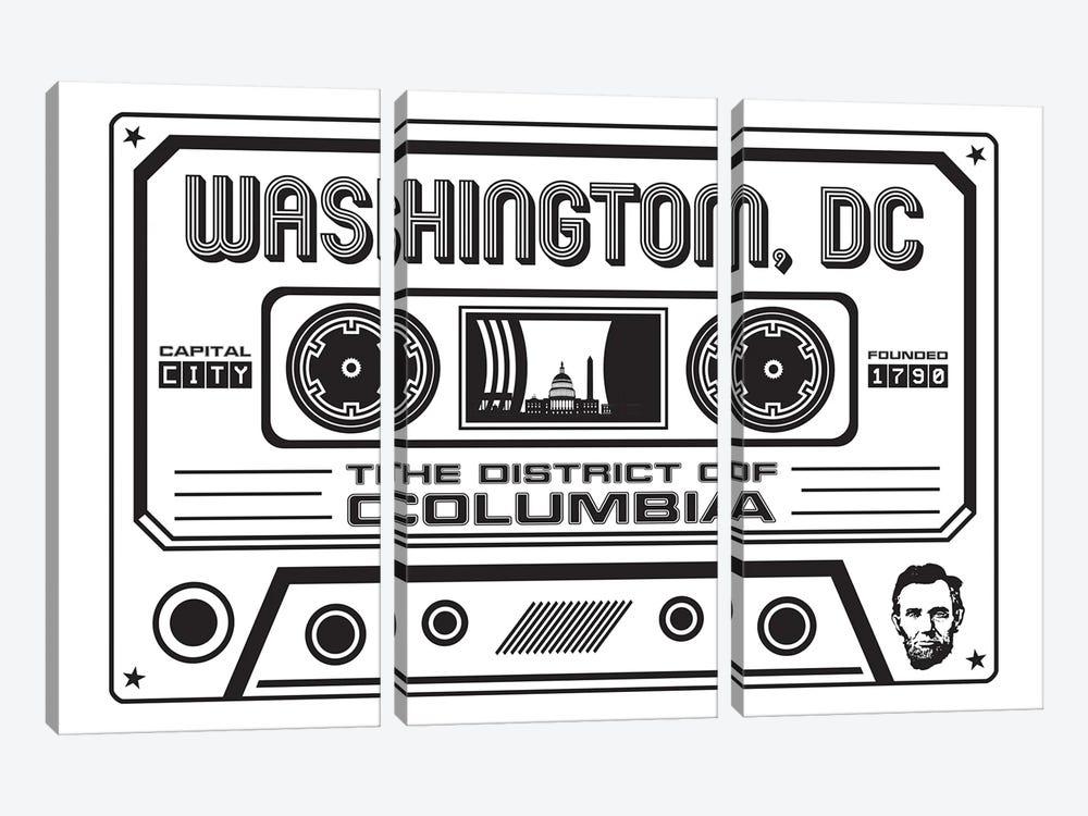 Washington DC Cassette - Light Background by Benton Park Prints 3-piece Canvas Print
