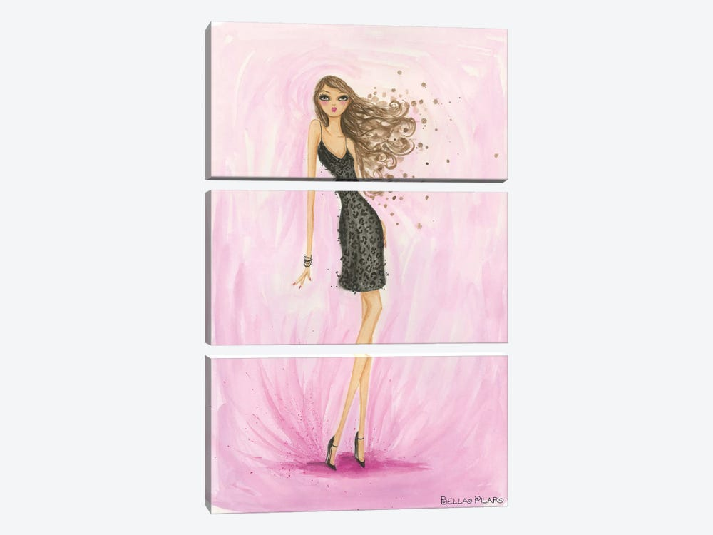 Little Black Dress Valentine by Bella Pilar 3-piece Canvas Print