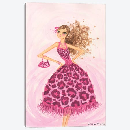 Pink Leopard Dress Canvas Print #BPR103} by Bella Pilar Art Print