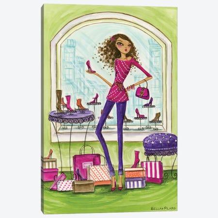 Shop the City Shoe Shop Canvas Print #BPR116} by Bella Pilar Art Print