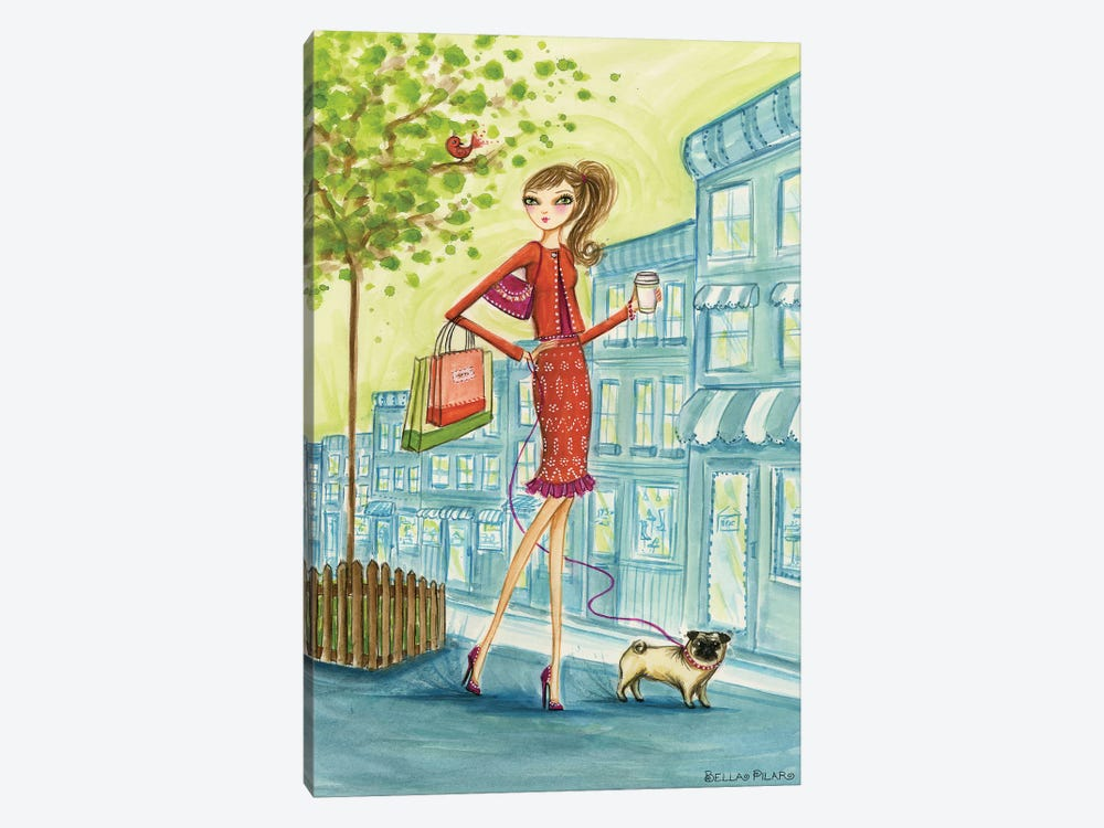Shop the City Shopping With Doggie by Bella Pilar 1-piece Canvas Art