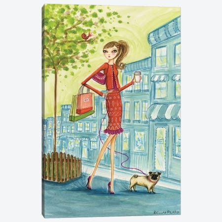 Shop the City Shopping With Doggie Canvas Print #BPR117} by Bella Pilar Canvas Print