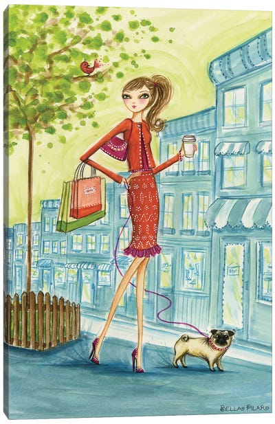 Shop the City Shopping With Doggie Canvas Art Print