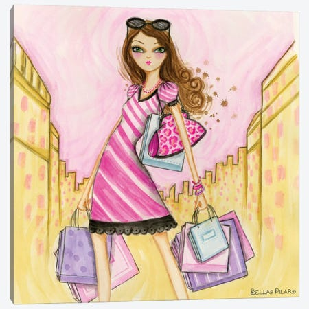 Spring Into Shopping Shopaholic Canvas Print #BPR122} by Bella Pilar Art Print