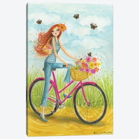 Sprung Bicycle Ride Canvas Print #BPR124} by Bella Pilar Canvas Art