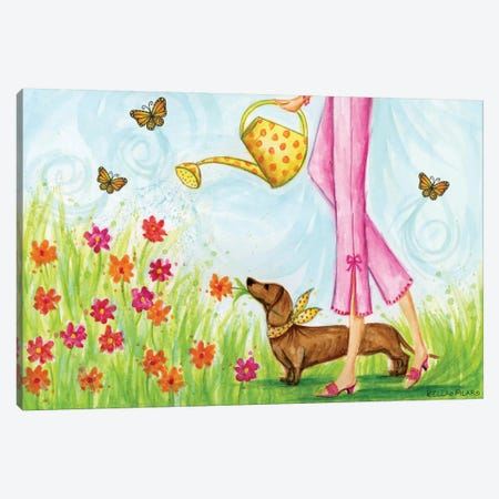 Sprung Garden Dog Canvas Print #BPR125} by Bella Pilar Canvas Wall Art