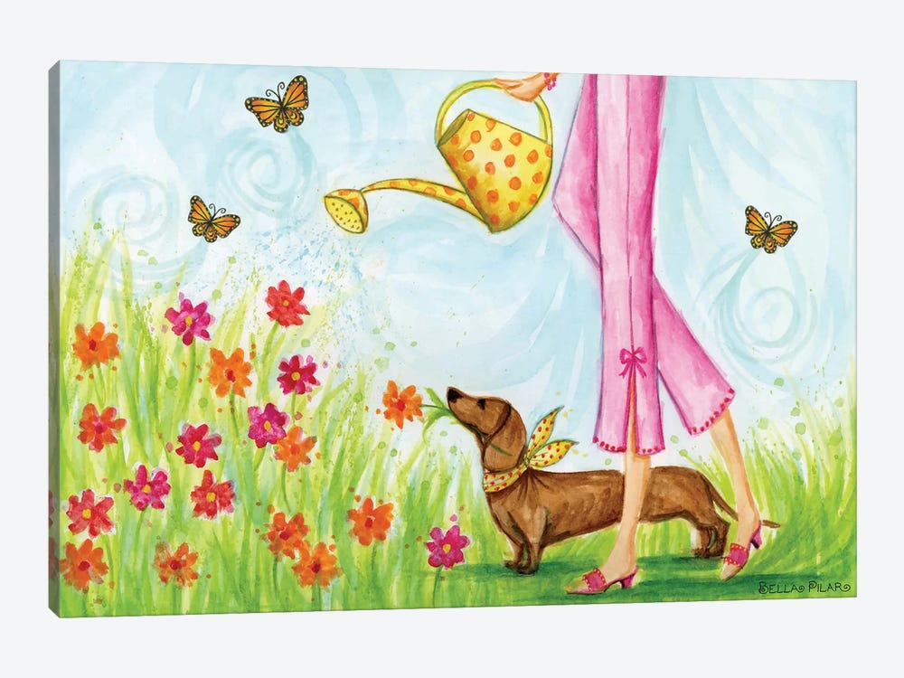 Sprung Garden Dog by Bella Pilar 1-piece Art Print