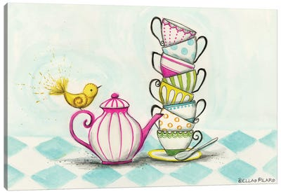 Tea Party Birdie  Canvas Art Print