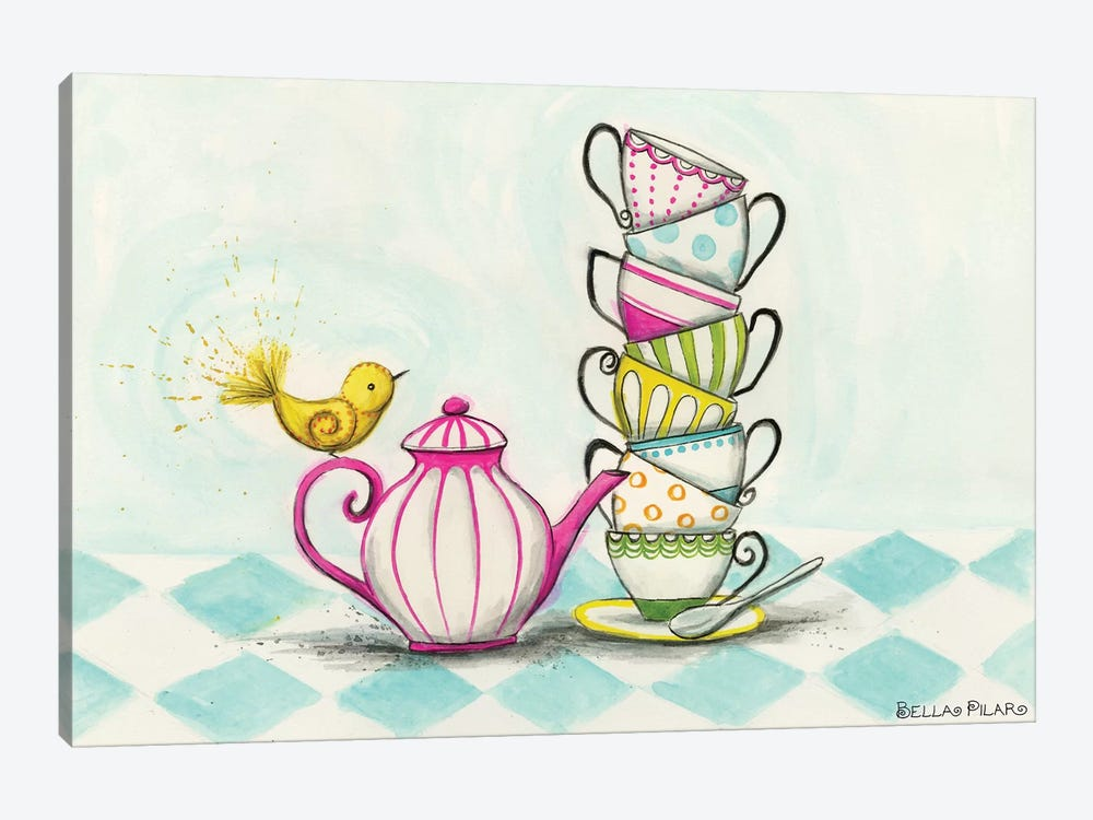 Tea Party Birdie  by Bella Pilar 1-piece Canvas Print