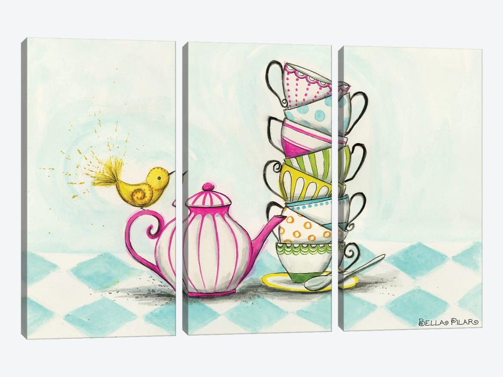 Tea Party Birdie  by Bella Pilar 3-piece Art Print