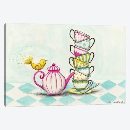 Tea Party Birdie  Canvas Print #BPR130} by Bella Pilar Canvas Wall Art