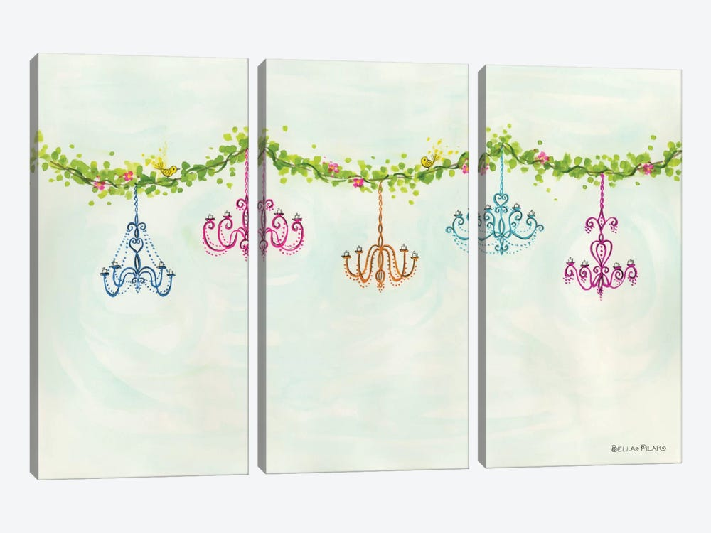 Tea Party Chandeliers by Bella Pilar 3-piece Canvas Artwork