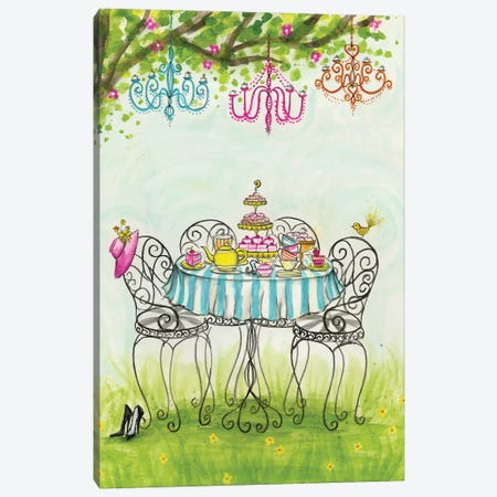 Tea Party Garden Tea Party Canvas Print #BPR132} by Bella Pilar Canvas Artwork
