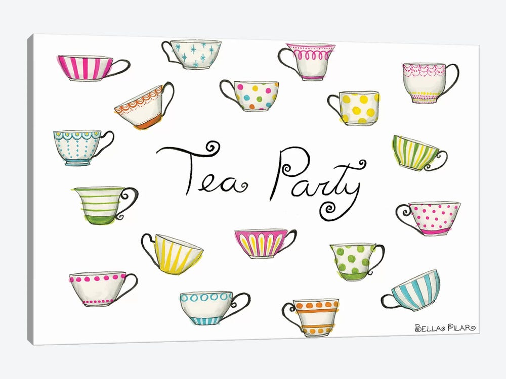 Tea Party Tea Cups by Bella Pilar 1-piece Canvas Art
