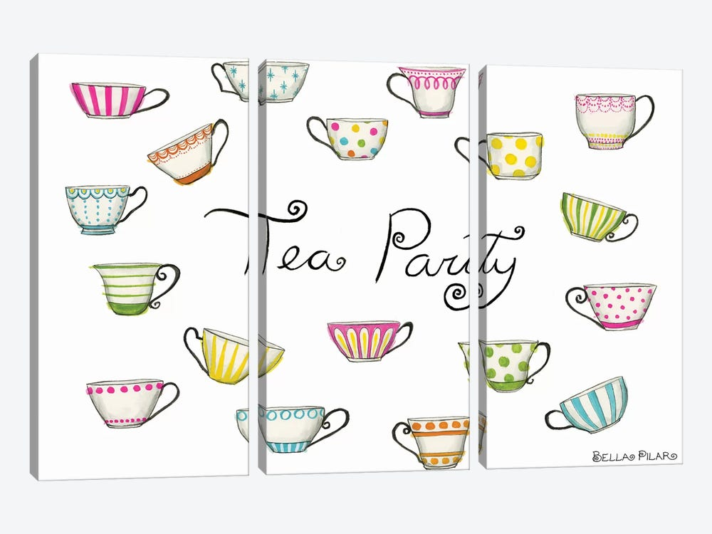 Tea Party Tea Cups by Bella Pilar 3-piece Canvas Artwork