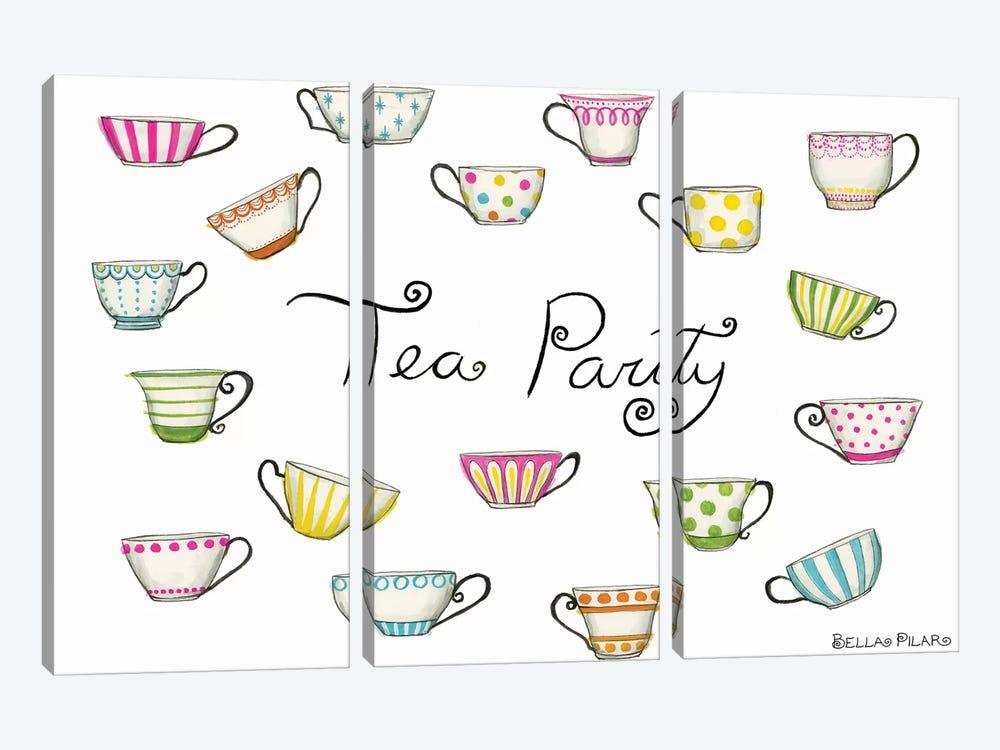 Tea Party Tea Cups by Bella Pilar 3-piece Canvas Artwork