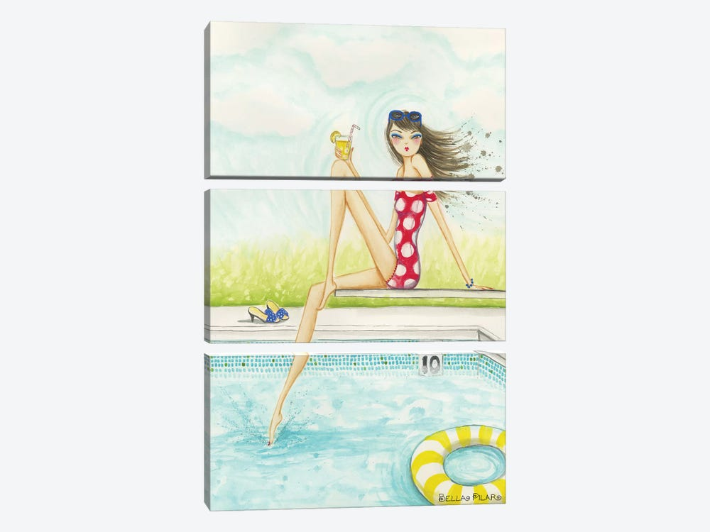 Backyard Pool #2 by Bella Pilar 3-piece Canvas Print