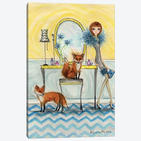 Fiona and Fox Canvas Print #BPR154} by Bella Pilar Canvas Art Print