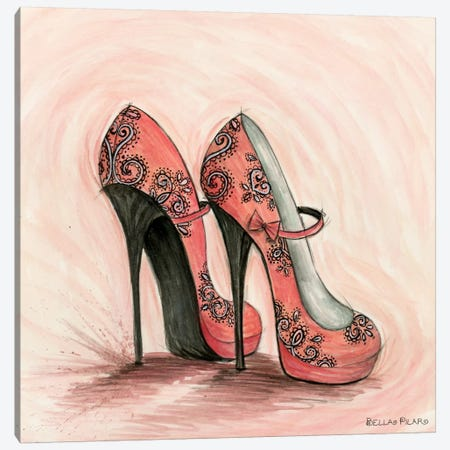 Glitterati: Carlita in Coral Shoes Canvas Print #BPR163} by Bella Pilar Art Print