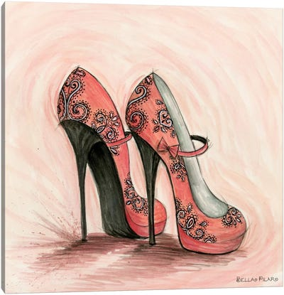 Glitterati: Carlita in Coral Shoes Canvas Print #BPR163