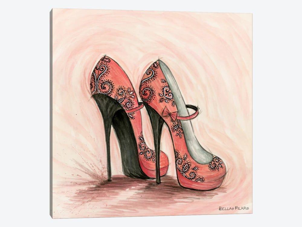 Carlita in Coral Shoes by Bella Pilar 1-piece Canvas Art Print