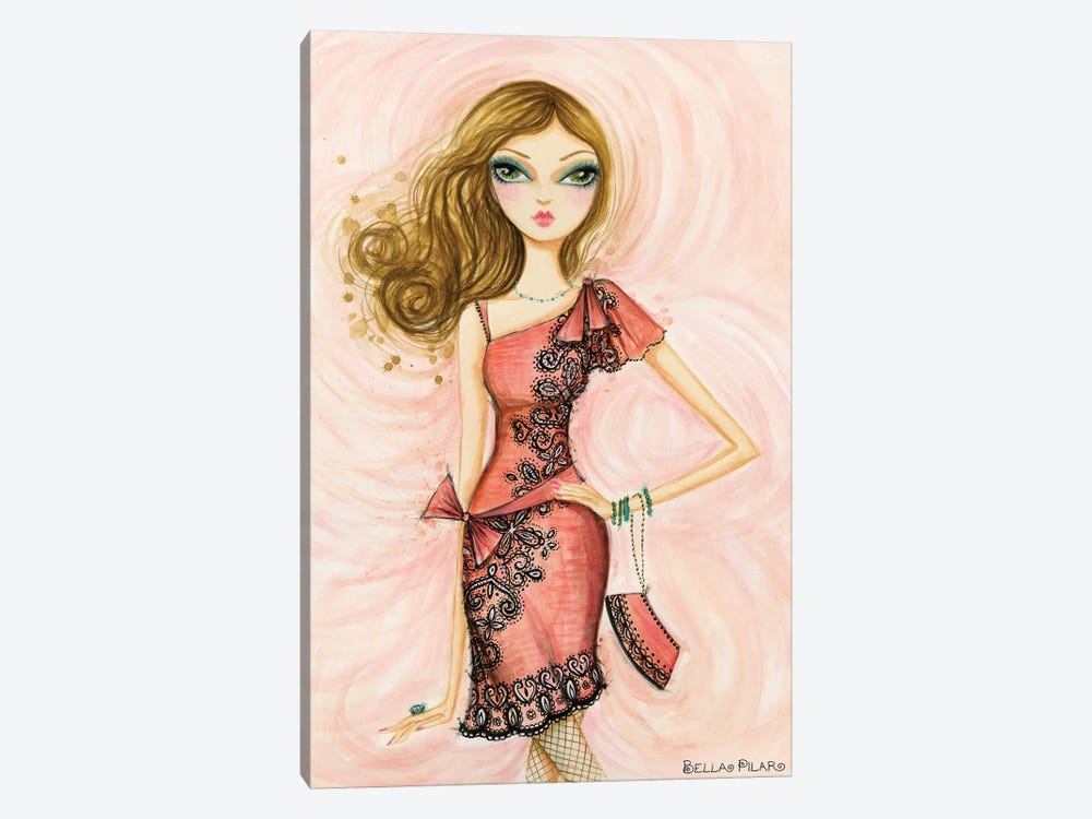 Glitterati: Carlita in Coral by Bella Pilar 1-piece Canvas Artwork