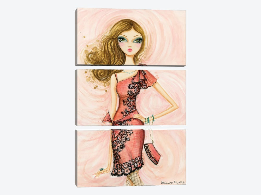 Glitterati: Carlita in Coral by Bella Pilar 3-piece Canvas Art