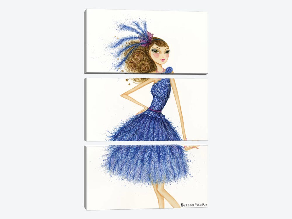 Florence In Feathers by Bella Pilar 3-piece Canvas Wall Art