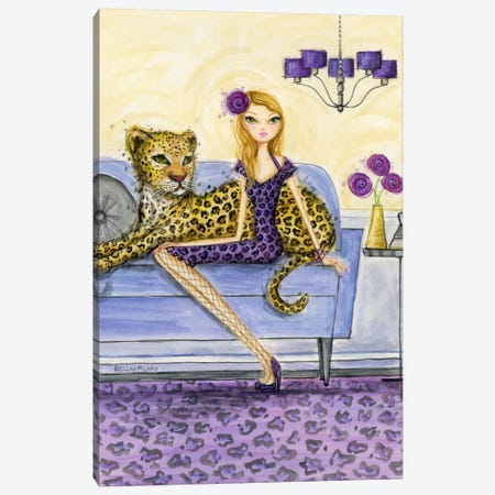 Lula and Leopard Canvas Print #BPR171} by Bella Pilar Canvas Artwork