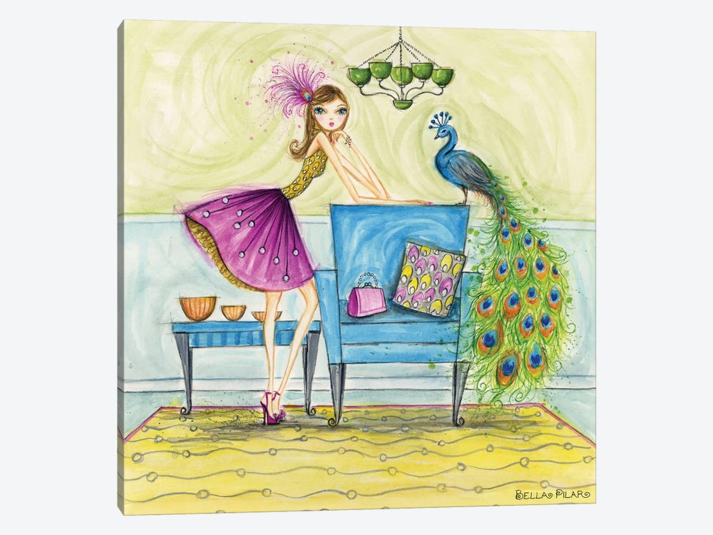 Penny and Peacock by Bella Pilar 1-piece Canvas Print