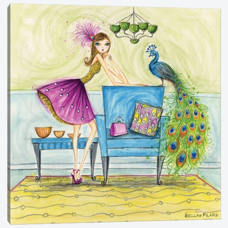 Penny and Peacock Canvas Print #BPR183} by Bella Pilar Canvas Print