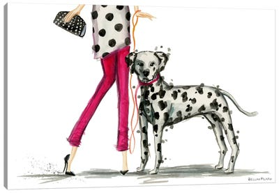 Girls Best Friend, Darla and her Dalmatian Canvas Art Print