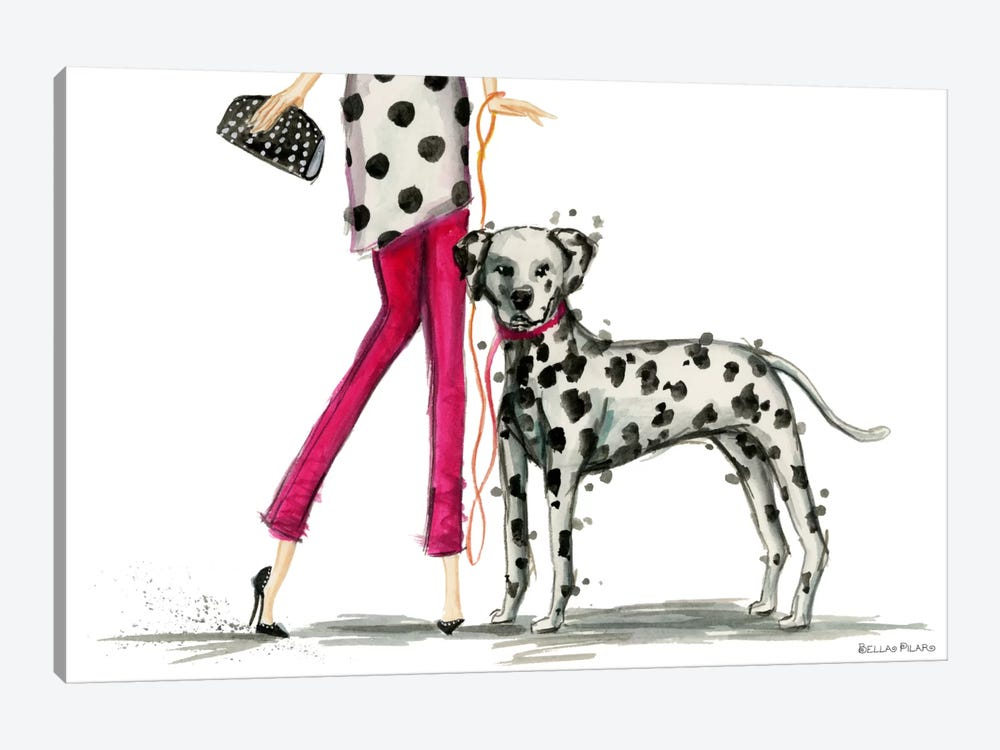 Girls Best Friend, Darla and her Dalmatian by Bella Pilar 1-piece Canvas Print
