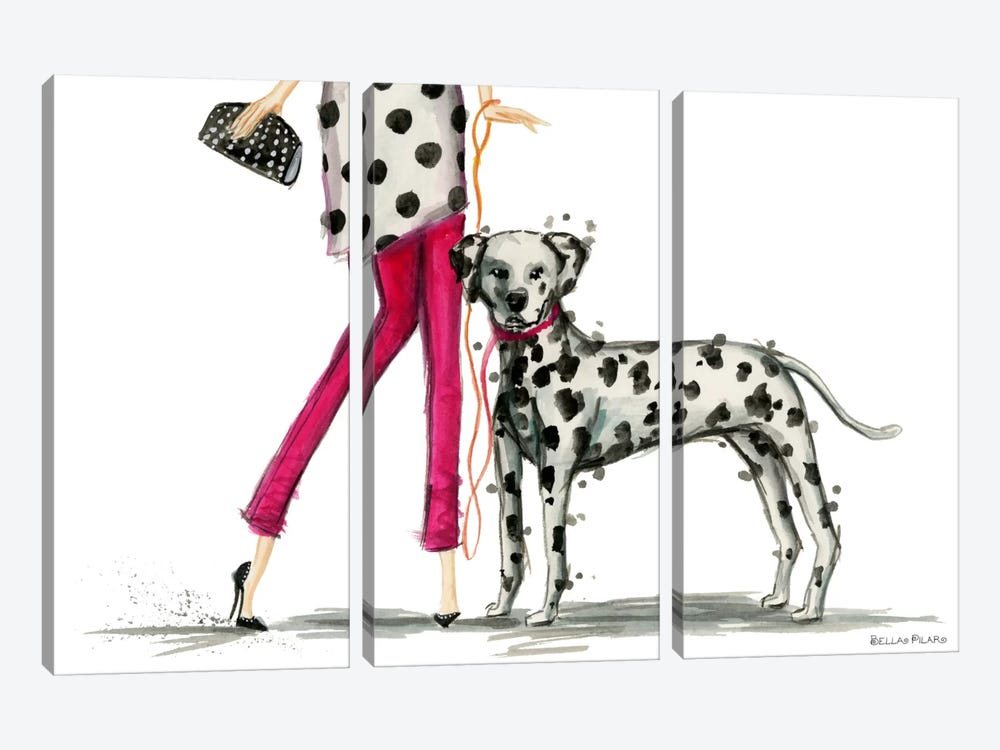 Girls Best Friend, Darla and her Dalmatian by Bella Pilar 3-piece Canvas Print