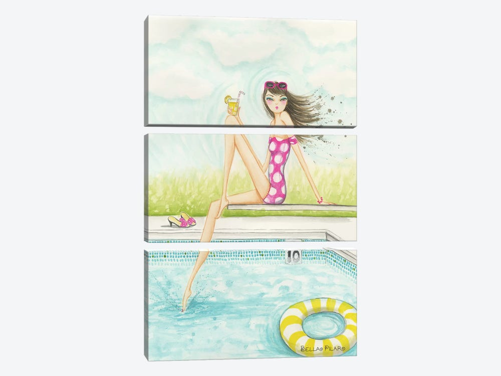 Backyard Pool by Bella Pilar 3-piece Canvas Art