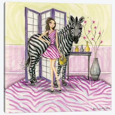 Zoe and Zebra Canvas Print #BPR211} by Bella Pilar Art Print