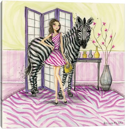 Zoe and Zebra Canvas Art Print