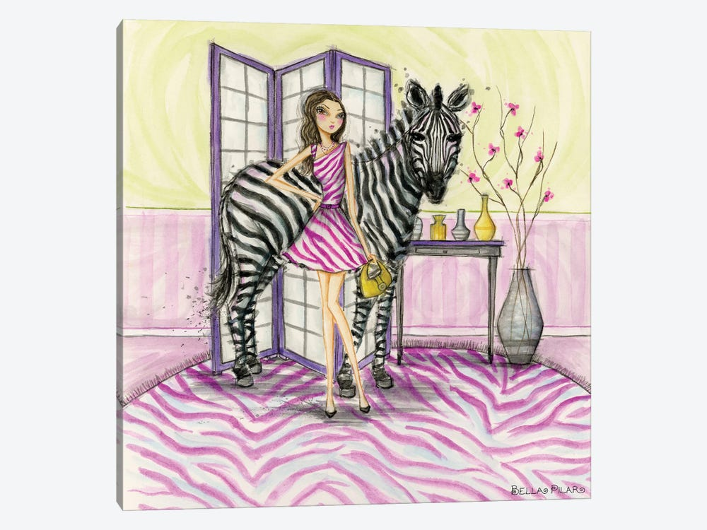 Zoe and Zebra by Bella Pilar 1-piece Canvas Wall Art