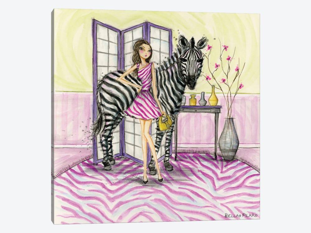 Zoe and Zebra by Bella Pilar 1-piece Canvas Wall Art