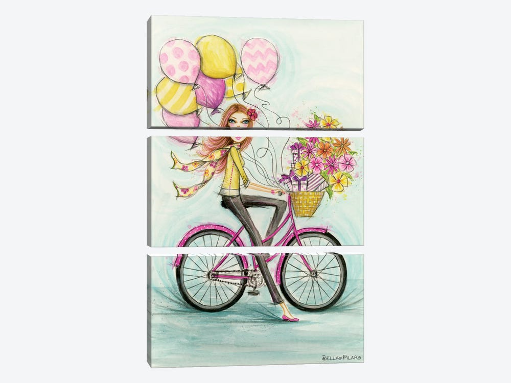 Birthday Bicycle by Bella Pilar 3-piece Canvas Print