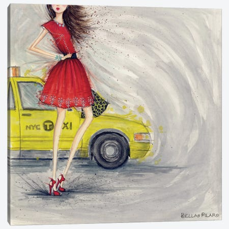 A Taxi Canvas Print #BPR232} by Bella Pilar Art Print