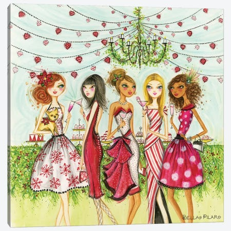 Merry, Martini Drinking, Friends Canvas Print #BPR257} by Bella Pilar Canvas Artwork