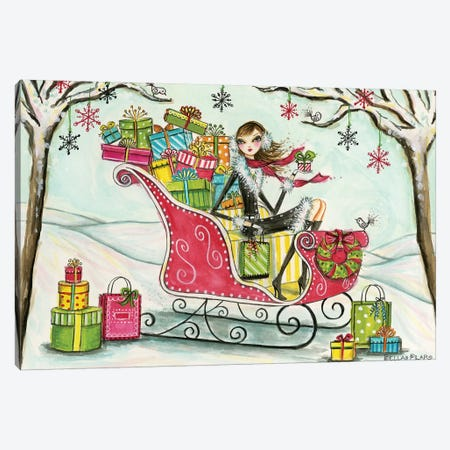 Santa's Sleigh Canvas Print #BPR261} by Bella Pilar Canvas Artwork