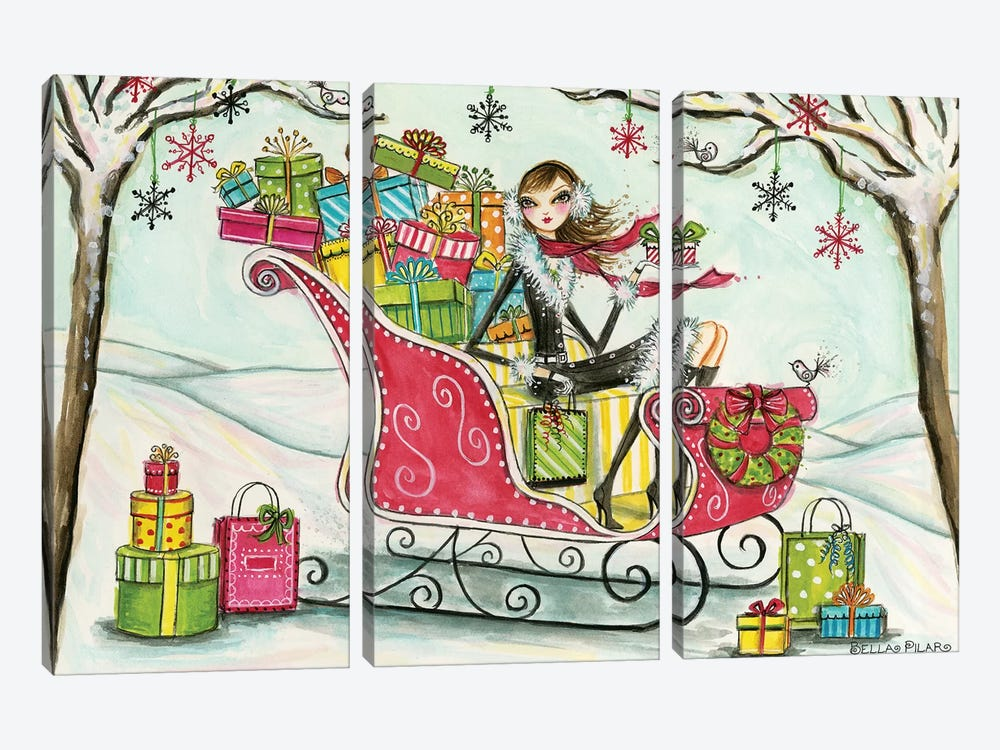 Holiday Series: Santa's Sleigh by Bella Pilar 3-piece Art Print